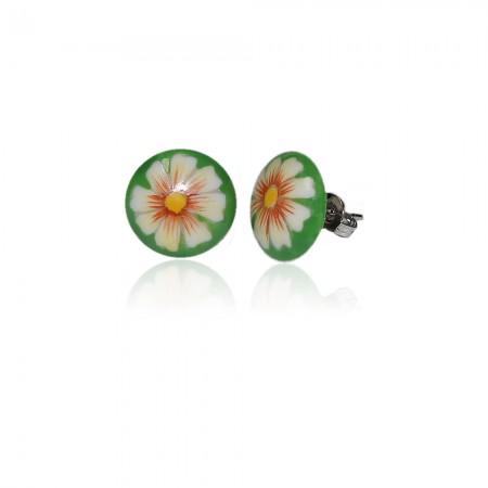 Hollóházi Porcelán fülbevaló Margaréta zöld 295-2792