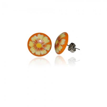 Hollóházi Porcelán fülbevaló Margaréta narancssárga 295-2792