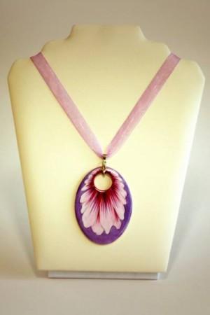 Hollóházi Porcelán nyaklánc Margaréta lila