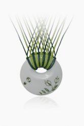 Hollóházi Porcelán nyaklánc Lente Zöld