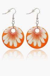 Hollóházi Porcelán fülbevaló Margaréta narancssárga