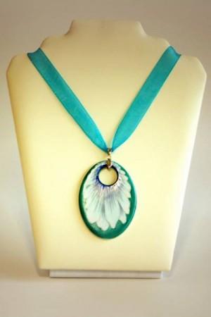 Hollóházi Porcelán nyaklánc Margaréta kék