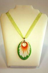 Hollóházi Porcelán nyaklánc Margaréta zöld