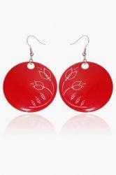 Hollóházi Porcelán fülbevaló Plano piros 9446-2797