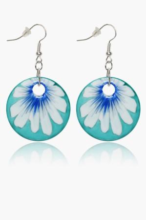 Hollóházi Porcelán fülbevaló Margaréta kék 9427-2792